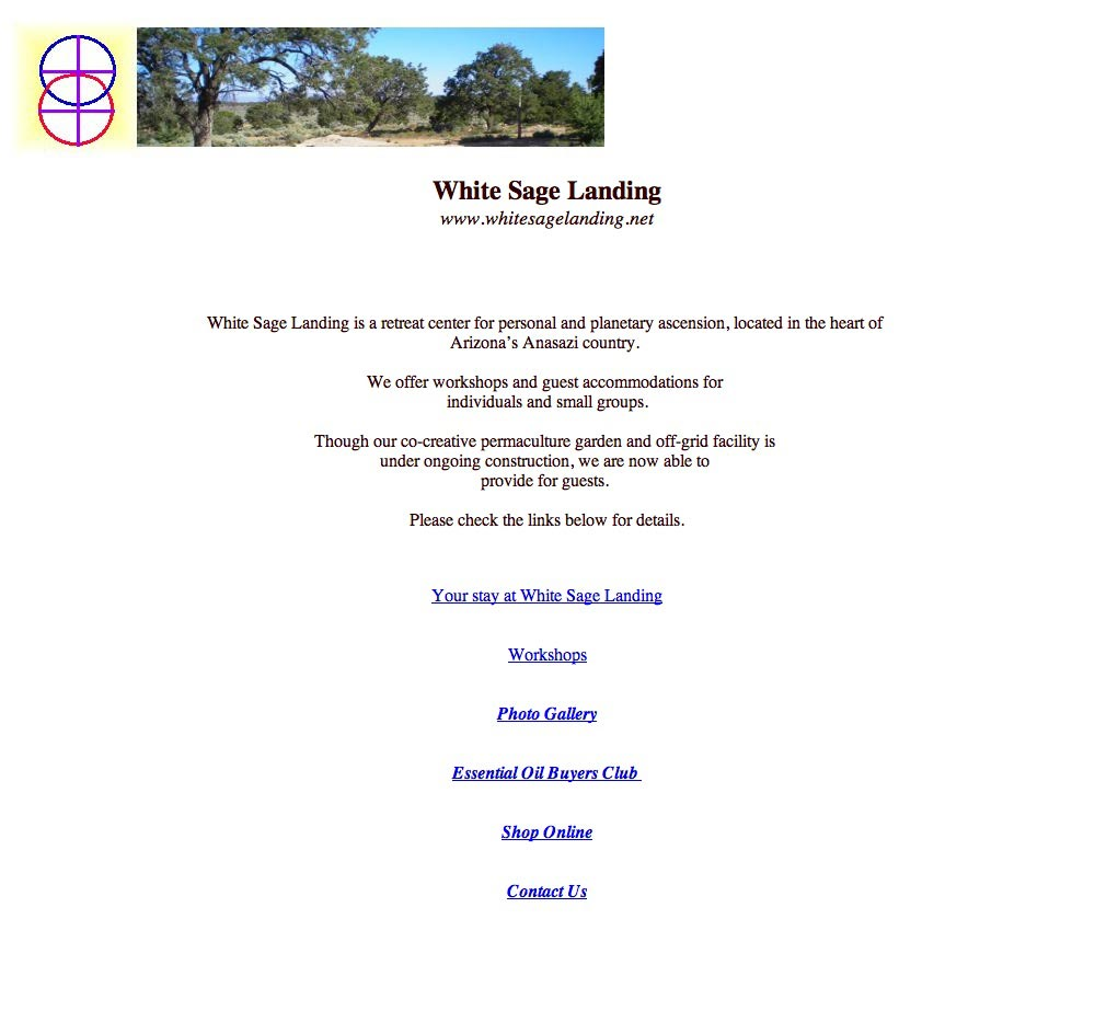 White Sage Landing - Home Page before the re-design