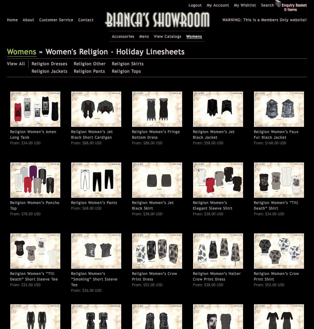 Bianca's Showroom Linesheets