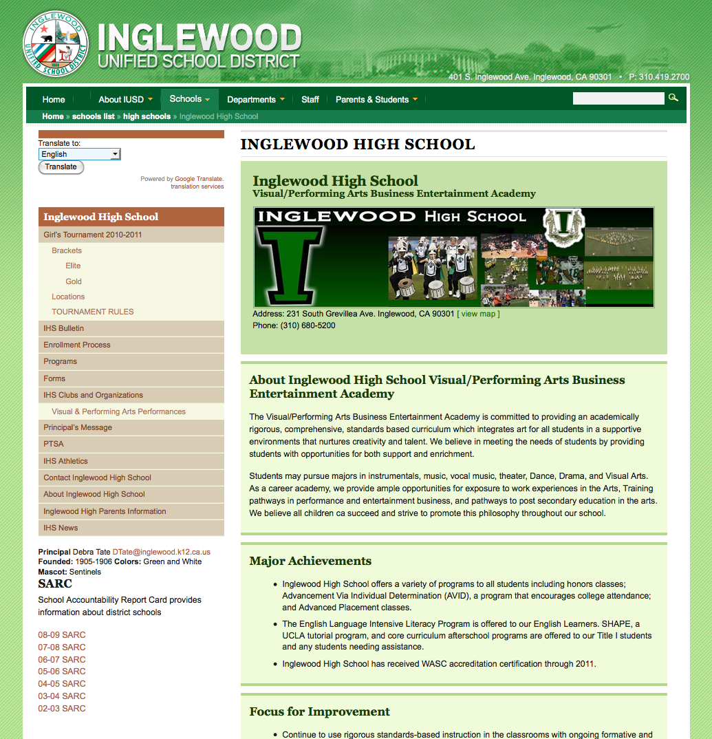 Inglewood Unified School District School Home Page