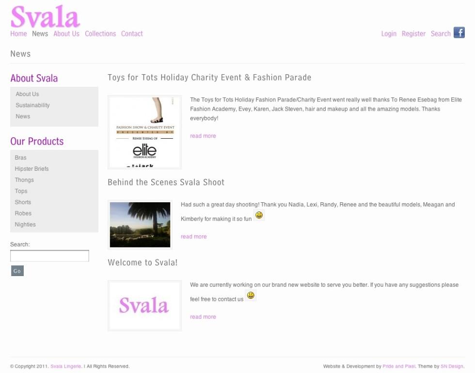 Svala Lingerie Homepage