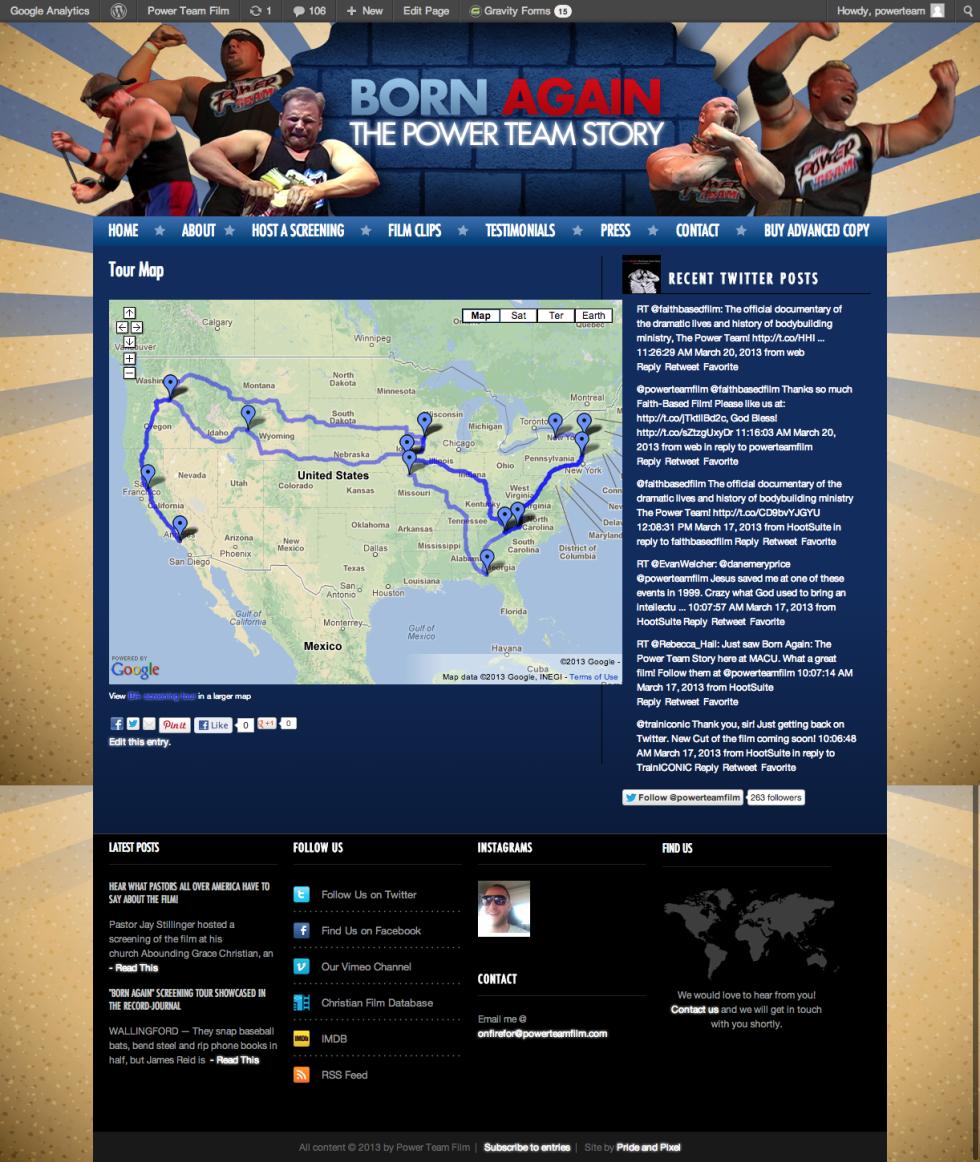 Tourmap for Power Team Filmmakers