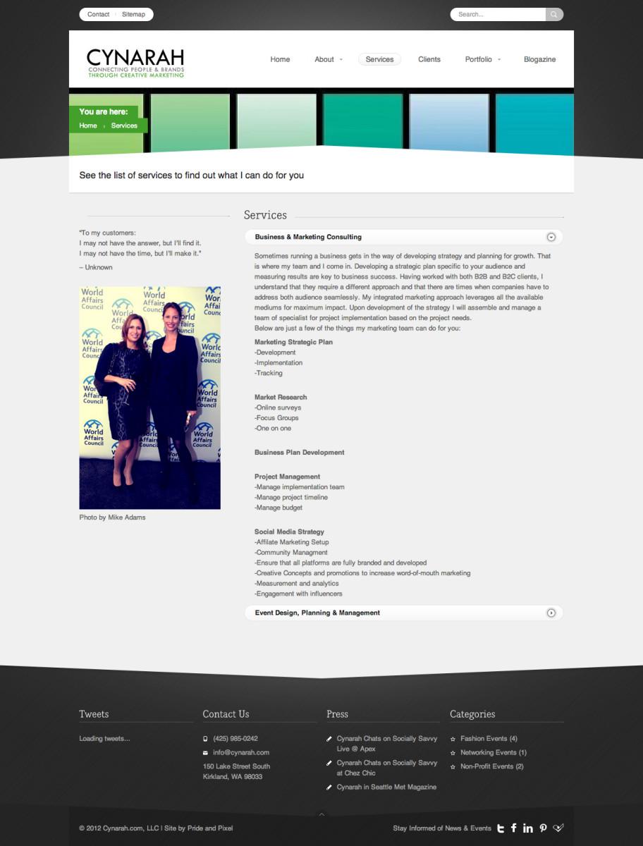 Cynarah Services Page