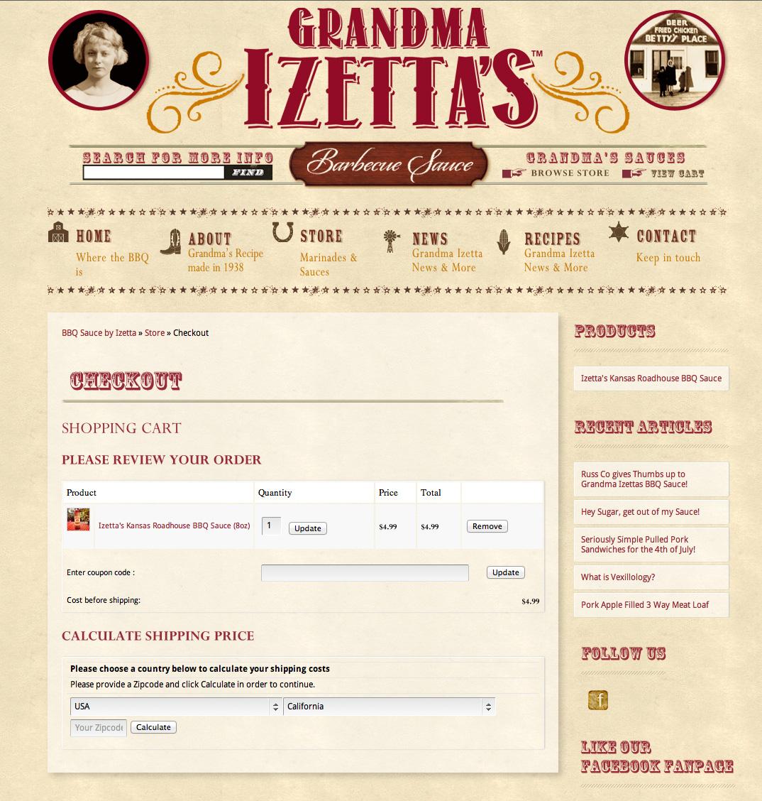 Izetta's Checkout Screen