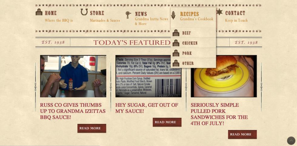 Izettas BBQ Dropdown Screen