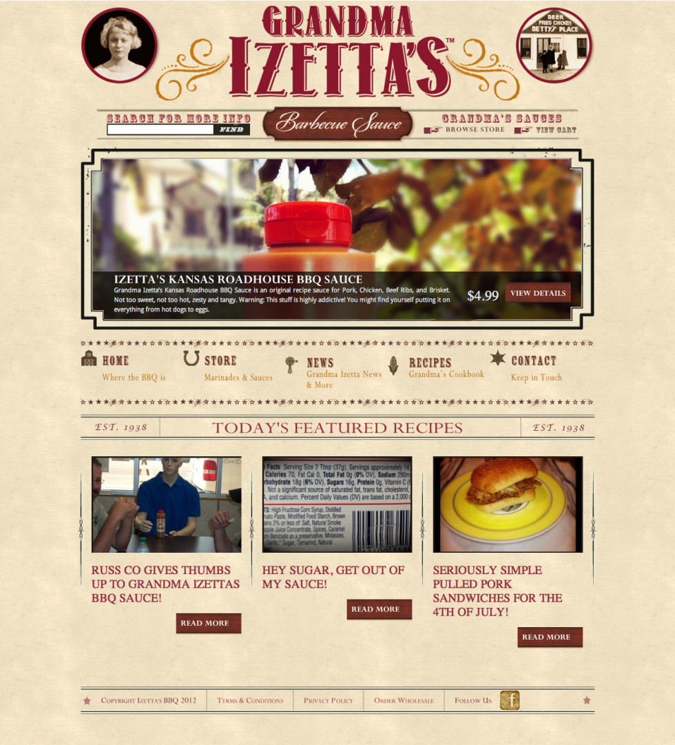 Izettas BBQ Home Screen
