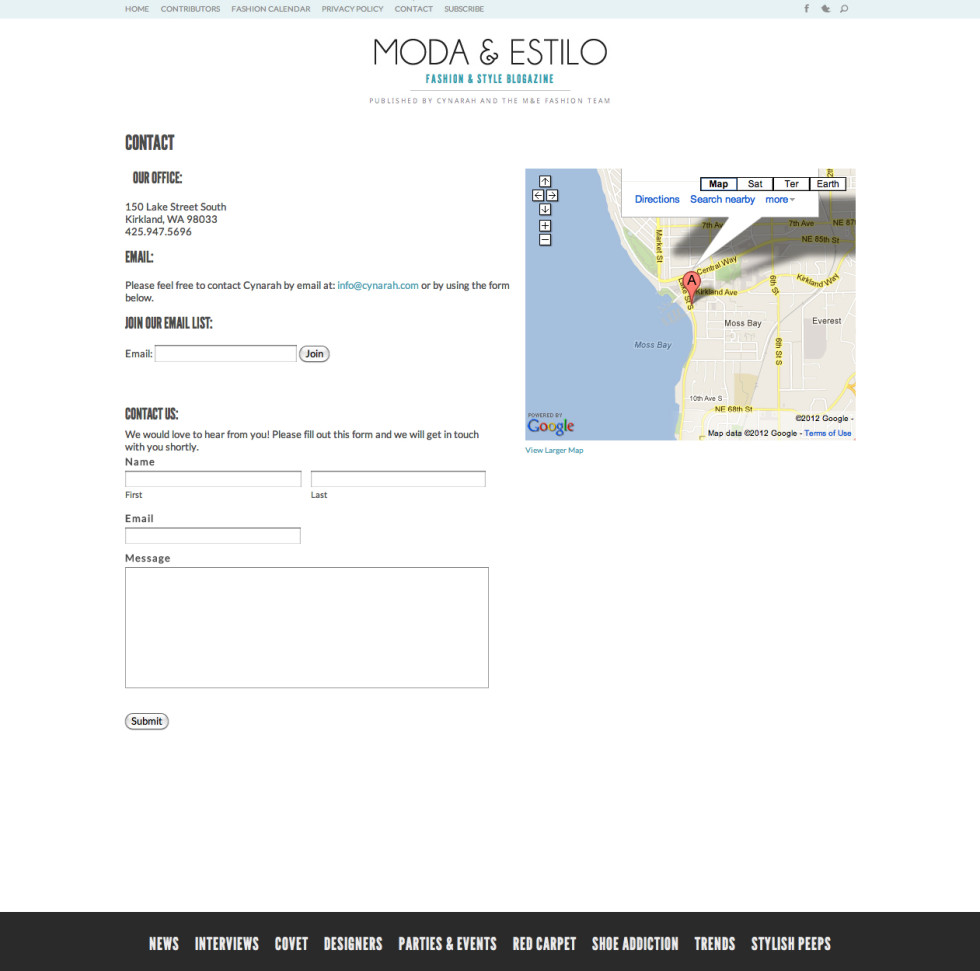 Moda and Estilo Contact Page