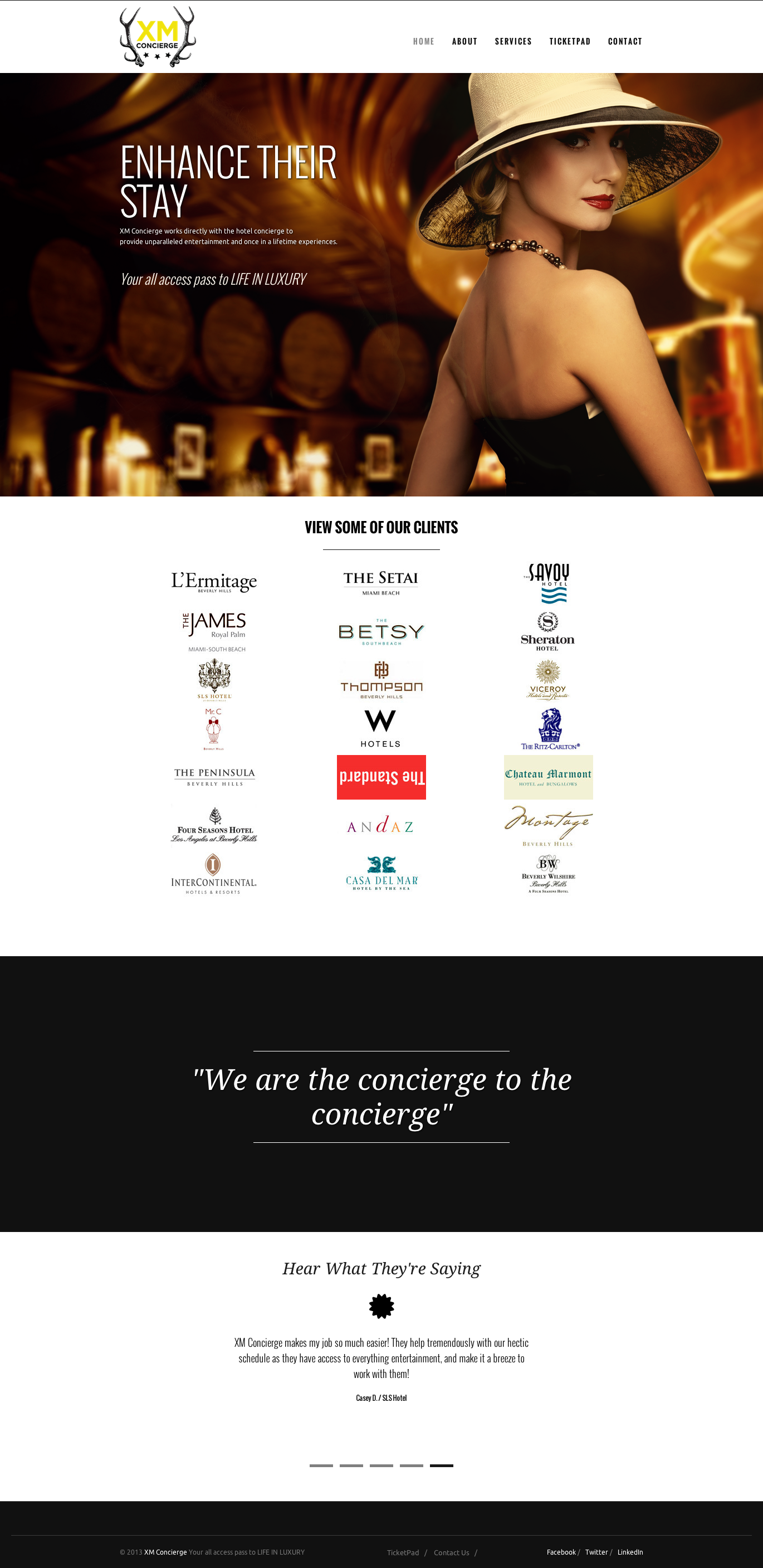 XM Concierge Homepage