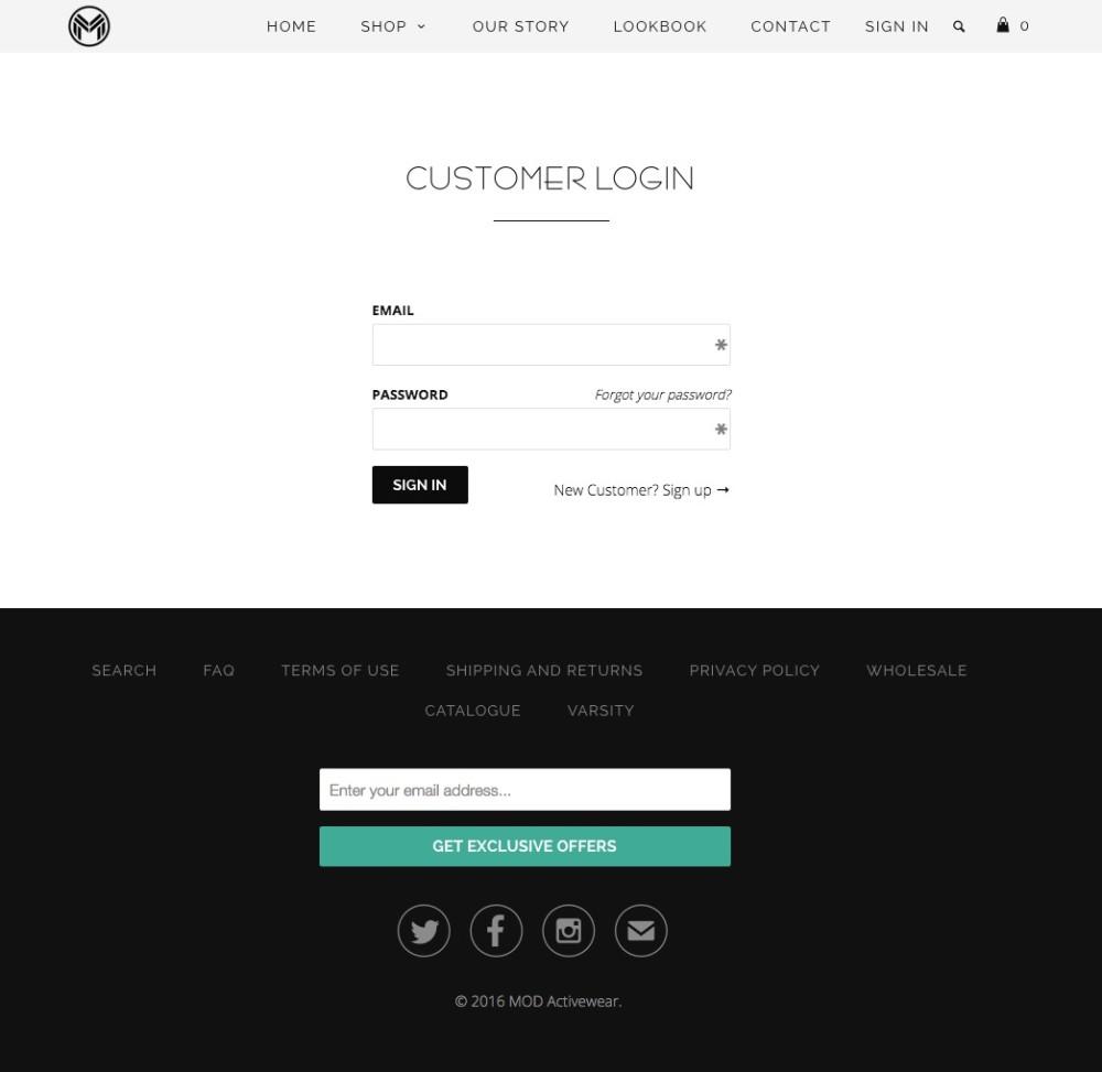 Mod Activewear Client Login