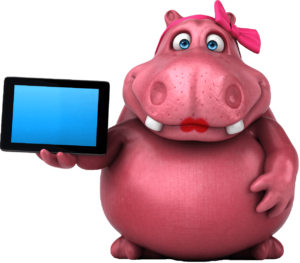 rosie hippo showing an iPad