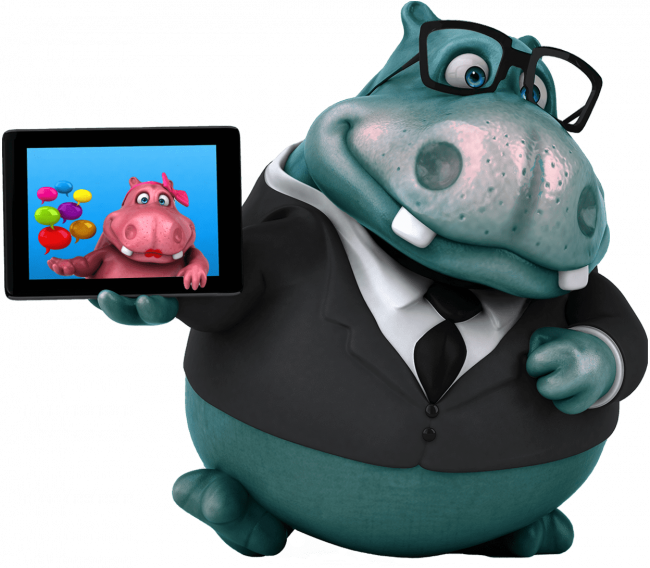 master hippo showing rosie hippo on the iPad